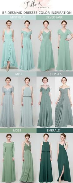 Mismatched Bridesmaid Dresses, Wedding Bridesmaid Dresses, Nice Dresses, Casual Dresses, Girls Dresses, Silver Sage, Mode Simple, Sea Moss, Royal Clothing