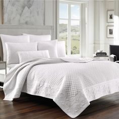 Add opulent luxury with elegant J Queen New York bedding sets. Choose luxe comforters, duvets and coverlets, as well as matching curtains, pillows, sheets and shams from J Queen NY Bedding Sets, White Quilt Bedding, White Coverlet, White Quilts, Pillow Shams, Queen News, Queens New York, Queen Quilt, Shopping