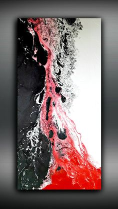 White Black and Red Painting 24x48 Abstract Painting Acrylic