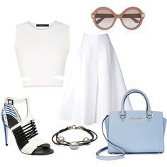 lookbook: white by paluna on Polyvore featuring moda, BCBGMAXAZRIA, Delpozo, Michael Kors and Valentino