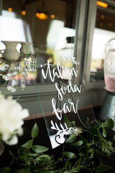 Italian Soda Bar... Photographer: Arlene Chambers Photography, Designer: EVENTful Moments, Art by: Chalk Boss, Floral: Flora d' Amore #wedding #weddingdesign #hiddenmeadows #weddinginspiration #snohomish #snohomishwedding #italiansoda #italiansodabar