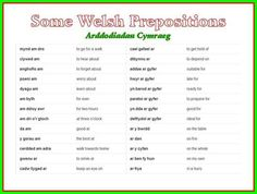WELSH prepositions Wales Language, Learn Welsh, Welsh Words, Welsh Recipes, Language Lessons, Cymru, Prepositions, North Wales, Awesome Quotes