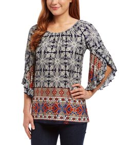 Look at this Dia Navy & White Arabesque Drape-Sleeve Tunic - Women & Plus on #zulily today!