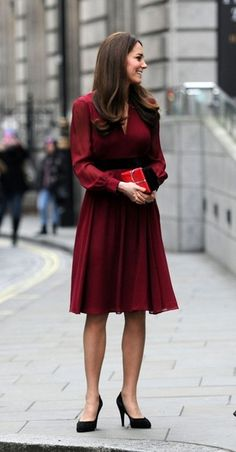 Kate Middleton Day Dress Kate looked lovely in red at the unveiling of her portrait at the National Portrait Gallery in London.