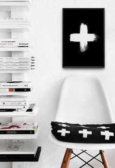 Swiss Cross Plus Sign  Scandinavian Wall ArtBrush by VisualPixie