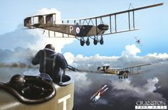 Difficult Journey Home by Ivan Berryman.  Handley Page 0/400s are attacked by German Albatross fighters as they return home from a raid during 1918.