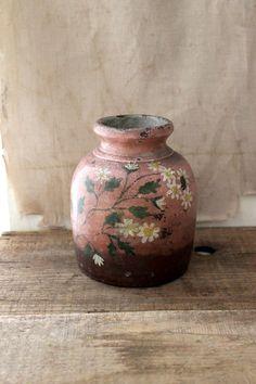 hand-painted antique crock