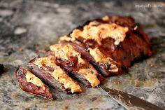 Grilled Flank Steak with Chipotle Butter via @CravingsLunatic