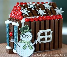 """Write Snap Scrap: The Kit Kat """"Gingerbread"""" House - Crafts With Kids Make A Gingerbread House, Christmas Gingerbread, Christmas Books, Christmas Deco, All Things Christmas, Christmas Holidays, Xmas, Gingerbread Village, Christmas Houses"""