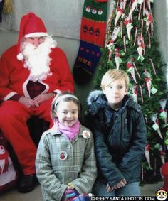 These kids have the right idea… 3 giant steps from Santa - Creepy Santa