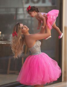 Cute a-line Strapless Rose Pink Mother and Daughter's Dress - Thumbnail 1