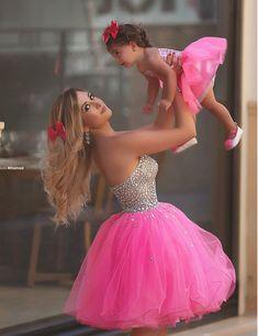 Aliexpress.com: Comprar Bola vestido corto de baile de novia fuera del hombro vestido de fiesta de tul con rebordear madre e hija vestido de juegos de vestir vestido fiable proveedores en Cutie  Dress