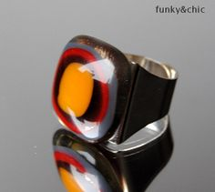 Touch-of-orange Fused Glass Ring