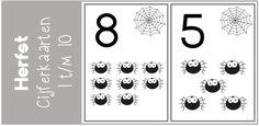 Thema herfst: cijferkaarten 1 t/m 10 - Juf Shanna