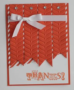 Tangerine Tango Card from Stampin' Up Sale-A-Bration Catalog...Vine Street Embossing Folder, Sycamore Street DSP and Vintage Verses Stamp Set...Annual Catalog...Whisper White CS, Whisper White Ribbon, and Rhinestone Jewels