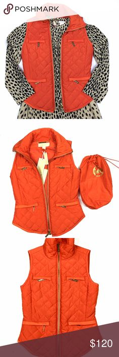 NWT Michael KORS Quilted Vest Beautiful orange vest. Perfect pop of color for fall. Love it with leopard or army green pants. Brand new with tags. Also comes with a pouch Michael Kors Jackets & Coats Vests