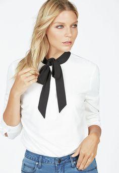 Tie Neck Tunic Kleidung in Winter White - günstig kaufen bei JustFab