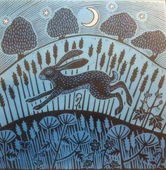 """Hare"" by Gerard Hobson (linocut)"