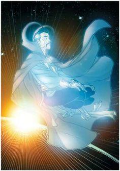 Doctor Strange (Marvel) surfing the astral planes.