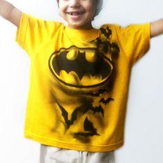 BATMAN  inspired T-Shirt   Bat T-Shirt   Bat Costume   Hero T-shirt   Hand Painted   Custom named   best for kids, boys, girls   yellow