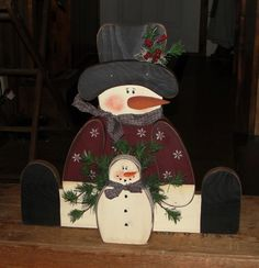 Sitting Snowman with Baby Christmas Wood Crafts, Handmade Christmas Decorations, Primitive Christmas, Christmas Snowman, Holiday Crafts, Christmas Crafts, Christmas Bulbs, Holiday Decor, Primitive Crafts