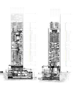 Architecture Graphics, Architecture Drawings, Architecture Design, Vertical City, Tower Design, Arch Model, Architectural Section, High Rise Building, Building Design