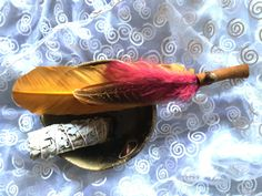 Smudge Feather Fan Aura Duster with Goldstone! by shspirithouse on Etsy