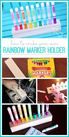 how to make a rainbow marker holder - perfect for school organization! - - Sugar Bee Crafts