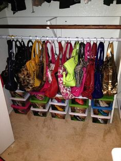 New Small Clothes Closet Organization Shower Curtains Ideas Organizing Purses In Closet, Coat Closet Organization, Handbag Storage, Closet Storage, Bedroom Storage, Home Organization, Organize Purses, Boot Storage, Handbag Organization