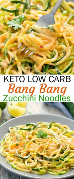 Zucchini noodles are served in a . Zucchini-Nudeln werden in einer Low-Carb-Version… Keto Bang Bang zucchini pasta. Zucchini noodles are served in a low carb version … – - Healthy Dinner Recipes, Vegetarian Recipes, Cooking Recipes, Healthy Meals, Keto Veggie Recipes, Cooking Tips, Zoodle Recipes, Shrimp Recipes, Raw Diet Recipes