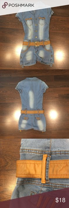 Denim jumpsuit with brown belt Denim jumpsuit with brown belt. It's so cute and it just has 2 little details in the belt as I showed in pic 3 and 4 but not noticeable when you wear it. Shorts
