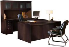 Bowfront U Shaped Desk with Hutch by Mayline Office Furniture - 1-800-508-0547 - Free Shipping - Mayline 2go.com