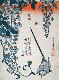 Hokusai. Wagtail and wisteria.