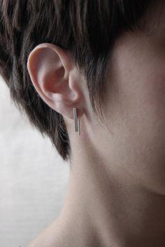 Delicate bar oorbellen / / zilver bar draad / / van AgJc op Etsy