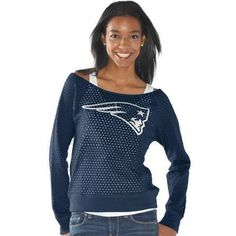 Official New England Patriots ProShop - Ladies GIII Holy Sweatshirt-Navy