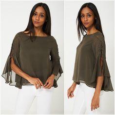 Womens Khaki Sheer Top Blouse Floaty Lace Up Bell Sleeves Sizes UK 6 8 Chiffon Sheer Chiffon, Chiffon Tops, Bohemian Tops, Bell Sleeves, Clothes For Women, Blouse, Lace, Casual, Fashion