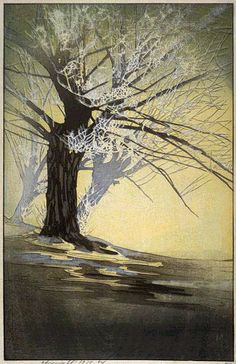 "Bertha Lum - Woodcut ""Frost"""