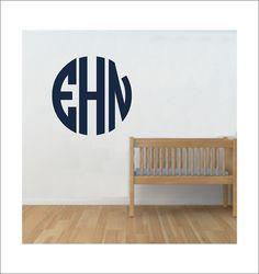 Circle Monogram Large Vinyl Wall Decal Preppy Monogram Boy Girl Nursery Bedroom Personalized Initials Housewares Home Decor Vinyl Decal on Etsy, $23.00