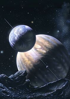 """clearairturbulence:  Sagan's Moon Artist: David A. Hardy """"Carl Sagan commissioned this acrylic painting of a Jupiter-type exoplanet with an earthlike moon, seen from another, airless moon. There is no reason why a large satellite of a gas-giant should not have air and water, and therefore life – though it's seasons and the pattern of night, day and eclipses would be complicated!"""""""