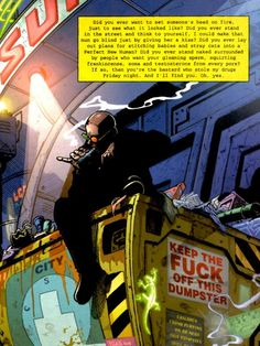 Transmetropolitan by Warren Ellis and Darrick Robertson.  Via NudityandNerdery.tumblr.com