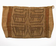 Potawatomi | twined or panel bag | nettle fiber: light ground + wool: dark & colored pattern | 62 cm x 40 cm | Wisconsin, U.S.A. | c. 1890 | 4 cosmological creatures: underwater panthers | combines two twining techniques: one on the outer edges & sides, and another for the panel contained within them | the red wool yarn was probably unraveled from a blanket