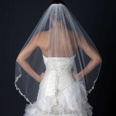 Gorgeous Beaded Floral Embroidery Fingertip Length Wedding Veil - Affordable Elegance Bridal -
