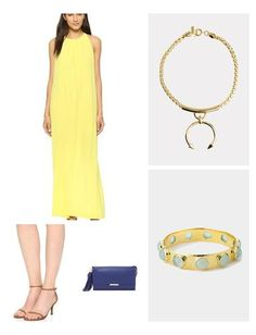 The sunny color of this gown is perfect for a destination wedding this Spring/Summer! Add a belt if you want to create curves, or just leave the dress long & flowing with a few statement accessories like this heavy-metal necklace and vibrant blue clutch.