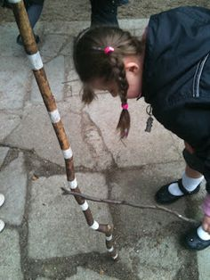 I've always taken a stick with me when going out and about. I stuck masking tape at 10cm intervals. This means that children can measure the size of anything when we are out and about.