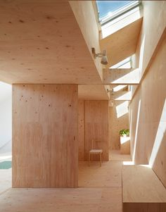 Projects|Tomohiro Hata Architect & Associates|An architecture office in Kobe, Japan Japan Architecture, Wood Architecture, Residential Architecture, Plywood House, Plywood Walls, Plywood Ceiling, Cafe Interior, Interior And Exterior, Haus Am Hang