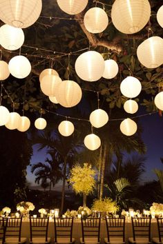 Strung up lanterns are a perfect way to light up your reception.