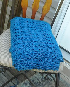 Blue Crocheted Afghan Blanket Throw made with Caron Simply Soft Yarn in Ocean Blue Extra Cozy. $65.00, via Etsy.