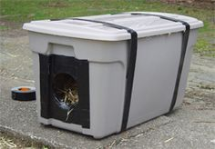Outdoor Cat Shelter  How To Make An Inexpensive Cat Shelter.  This is such a wonderful idea for DIY cat caregivers!  We made a similar shelter for a six-toed feral who adopted our deck. We called him Luca and he lived through many cold winters in that cozy plastic tote :)