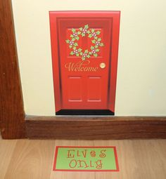 Elf Door Christmas Santa on the Shelf by onehipstickerchic on Etsy, $10.00