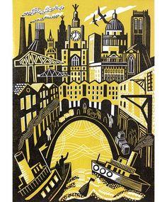 'Landing' by British artist Clare Curtis. Linocut, edition of x 19 cm. via Bircham Gallery Linocut Prints, Art Prints, Posca Art, Linoleum Block Printing, Linoprint, Wood Engraving, Tampons, Mellow Yellow, Printmaking